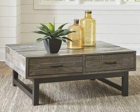 Mondoro Grayish Brown Lift Top Cocktail Table