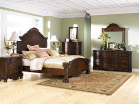 North Shore Dark Brown 8 Pc. Dresser, Mirror, Chest, California King Panel Bed & 2 Nightstands