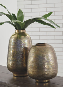 Miette Antique Brass Finish Vase Set (2/CN)