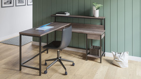Dorrinson Two-tone L-Desk with Storage & Swivel Desk Chair
