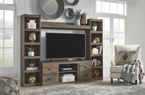 Trinell Brown Entertainment Center LG TV Stand, 2 Piers & Bridge