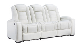 Party Time White Power Reclining Sofa with ADJ Headrest