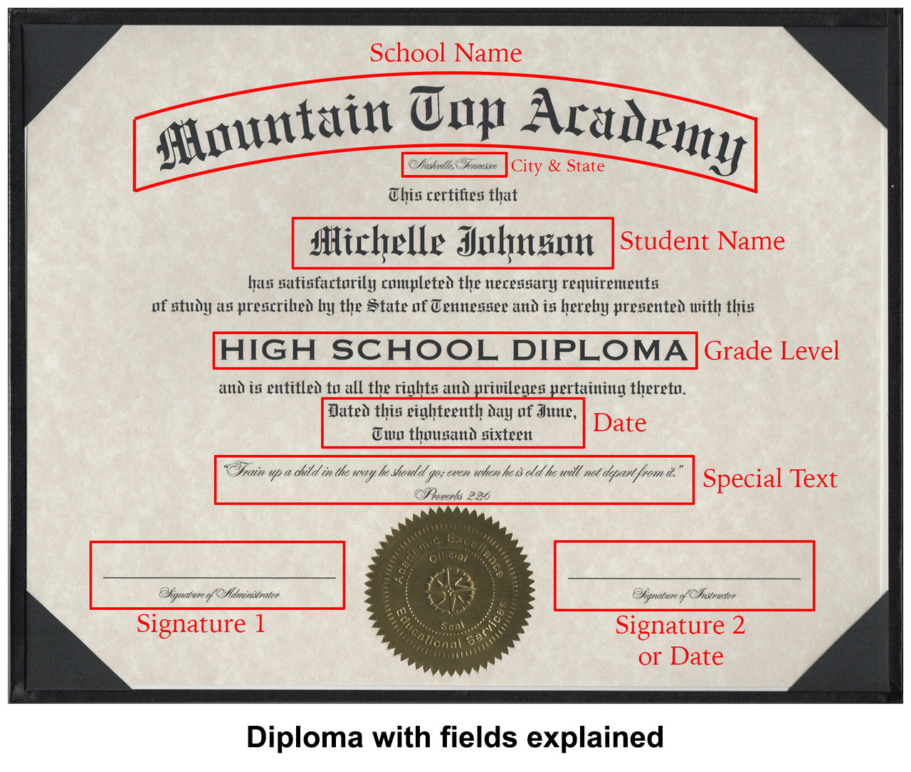 Diploma with fields explained