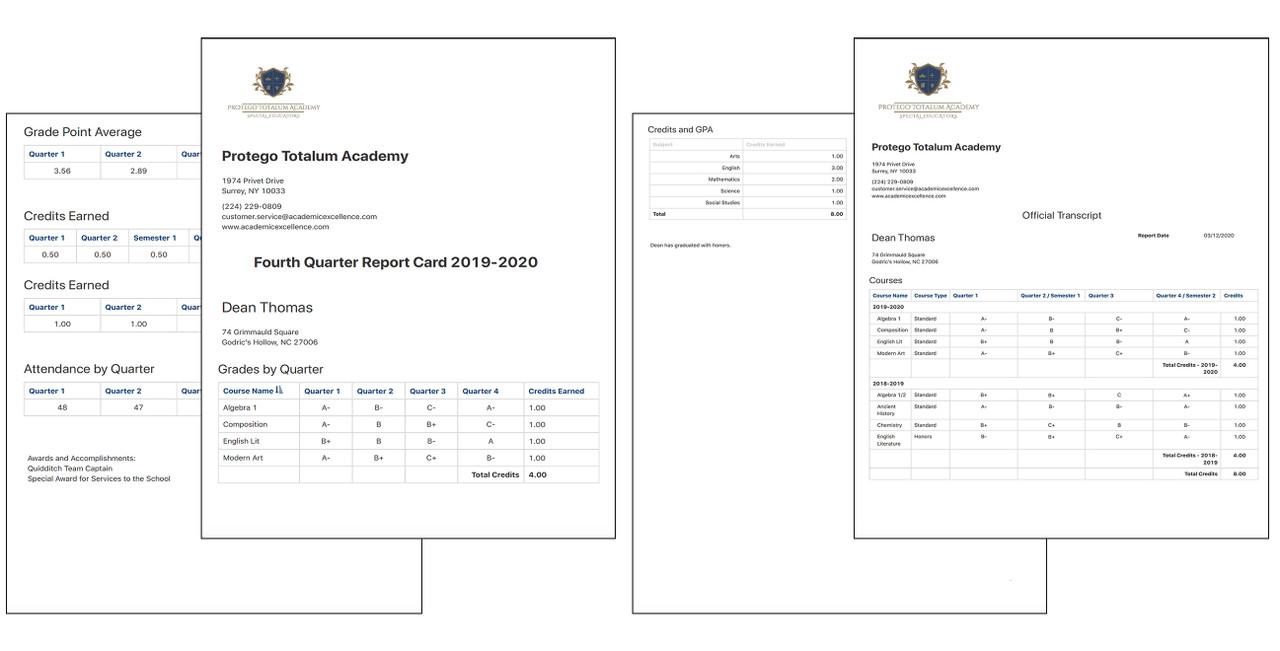 Report Card and Transcript