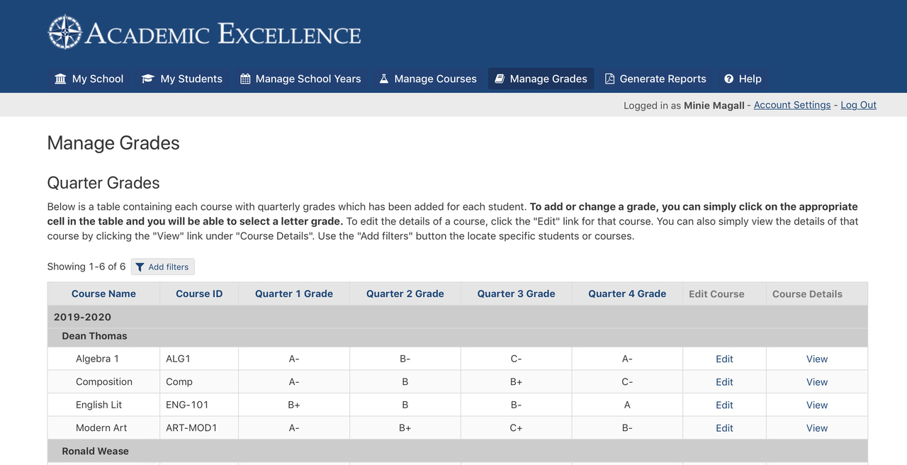 Manage Grades