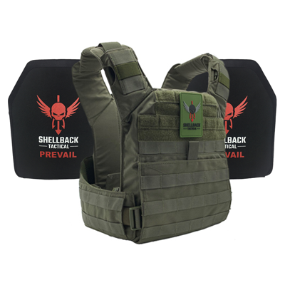 Shellback Tactical Banshee Rifle QD Active Shooter Kit with Level IV 1155 Plates Ranger Green