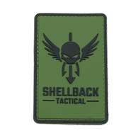 Shellback Tactical Logo PVC Patch Black on Ranger Green