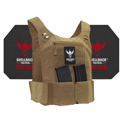 Shellback Tactical Stealth Low Vis Active Shooter Kit with Level IV 4S17 Plates Coyote