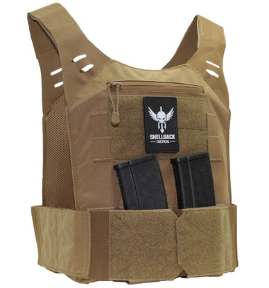 Shellback Tactical Stealth Low Vis Concealable Plate Carrier Front - Coyote