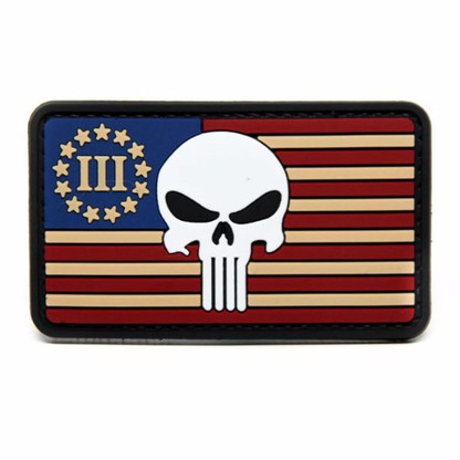 Punisher and Three Percenter Flag PVC Patch