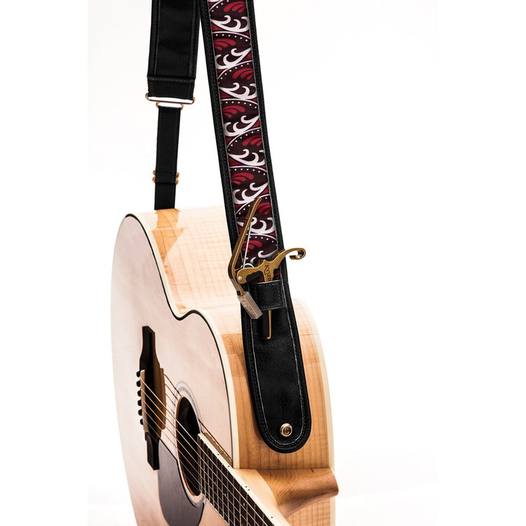 "Kyser KS1B Autumn K Leather Guitar Strap with ""Capo Keeper"", Brown"