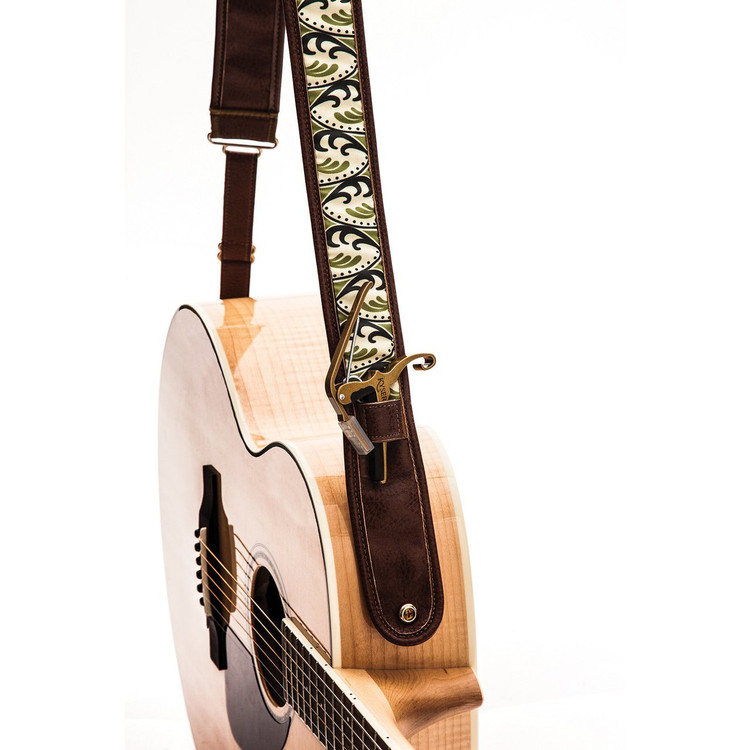 """Kyser KS2A Cool Bloom Leather Guitar Strap with """"Capo Keeper"""", Brown"""