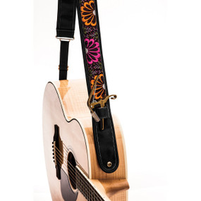 """Kyser KS2C Neon Bloom Leather Guitar Strap with """"Capo Keeper"""", Black"""