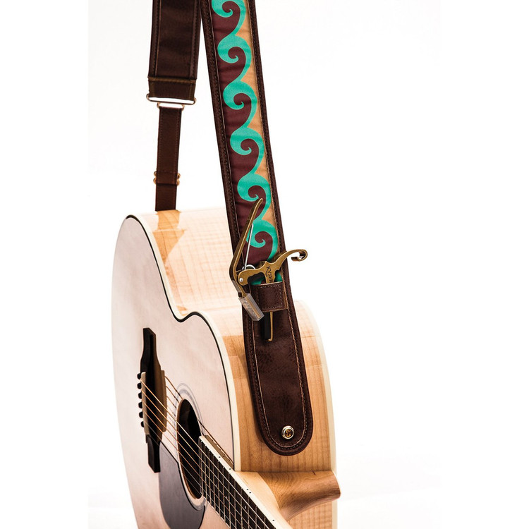 """Kyser KS3A Lake Wave Leather Guitar Strap with """"Capo Keeper"""", Brown"""