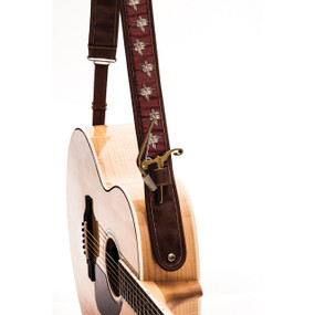 "Kyser KS4C Russet Hash Leather Guitar Strap with ""Capo Keeper"", Brown"