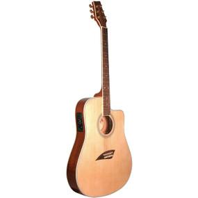 Kona K2 Thin Body Acoustic Electric Guitar, Natural (K2)