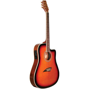 Kona K2 Thin Body Acoustic Electric Guitar, Sunburst (K2SB)