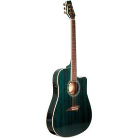 Kona K2 Thin Body Acoustic Electric Guitar, Transparent Blue (K2TBL)