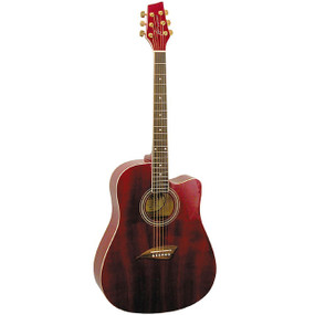 Kona K1TRD Dreadnought Cutaway Acoustic Guitar, Transparent Red