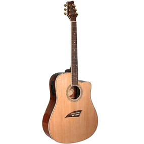 Kona K1E 6-String Dreadnought Cutaway Acoustic Electric Guitar, Natural