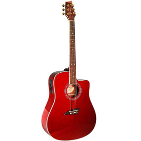 Kona K1E Dreadnought Acoustic Electric Guitar, Transparent Red (K1ETRD)