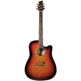 Kona K1E Dreadnought Acoustic Electric Guitar, Sunburst (K1ETSB)