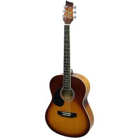 Kona K391 Left Handed Parlor Size Acoustic Guitar, Honeyburst