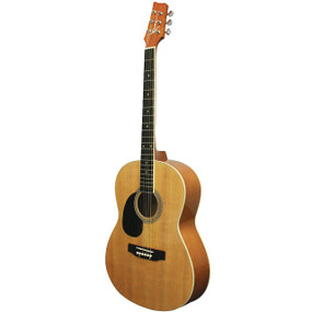 Kona K391 Left Handed Parlor Size Acoustic Guitar, Natural (K391L)