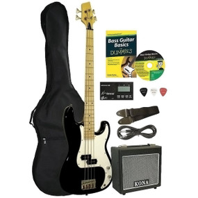 Kona Deluxe 4-String Electric Bass Guitar Starter Pack for Dummies (KBFDPK)
