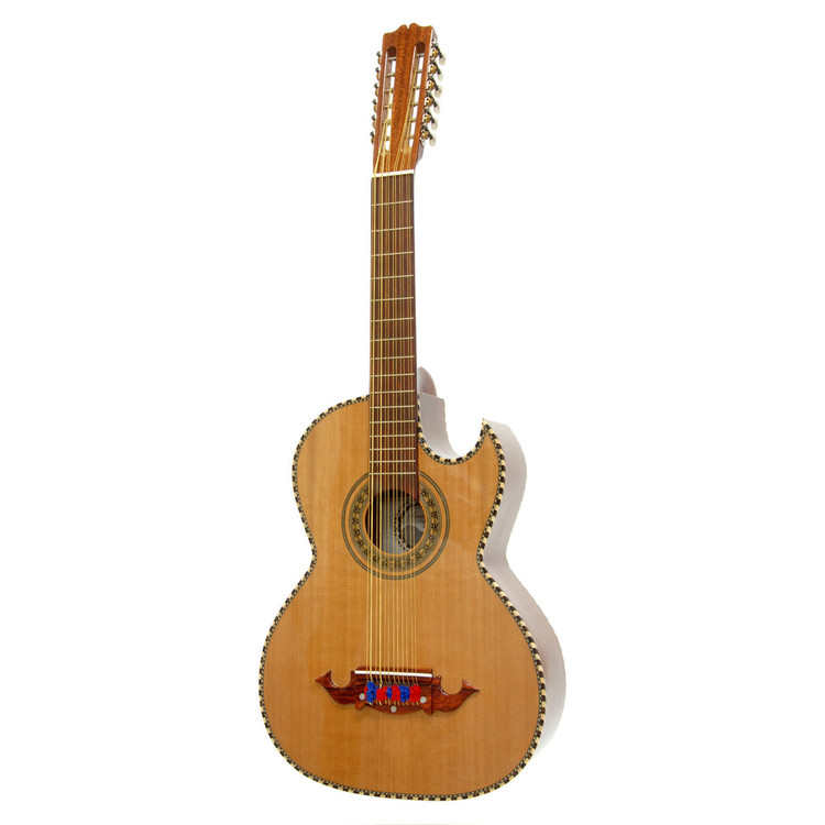 Paracho Elite Bravo Solid Cedar Top 12-String Bajo Sexto Guitar, Natural (BRAVO)