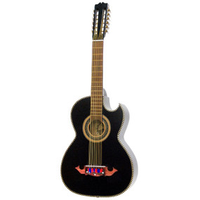 Paracho Elite Moreno Solid Cedar Top 12 String Bajo Sexto Guitar, Black Satin (MORENO)