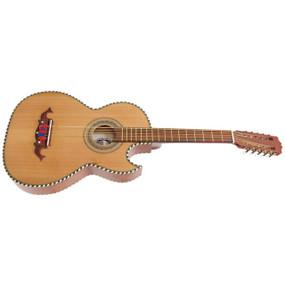 Paracho Elite Odessa Solid Cedar Top Thin Body 10 String Bajo Quinto Guitar, Natural (ODESSA)