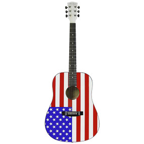 Main Street MAAF Dreadnought Acoustic Guitar with USA American Flag Design