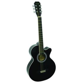 "Main Street MAS38BK 38"" Inch Concert Acoustic Guitar, Black"