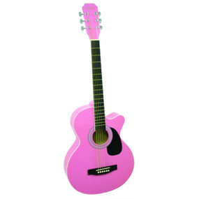 "Main Street MAS38PNK 38"" Inch Concert Acoustic Guitar, Pink"