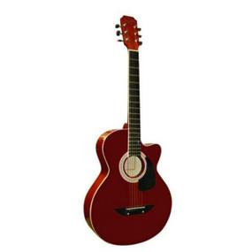 "Main Street MAS38TR 38"" Inch Concert Acoustic Guitar, Transparent Red"