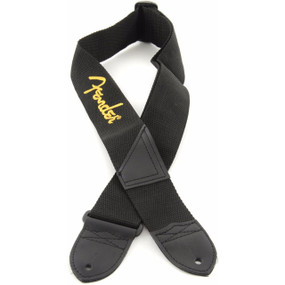 "Fender 2"" Black Polyester Guitar Strap with Yellow Fender Logo, 099-0662-070"