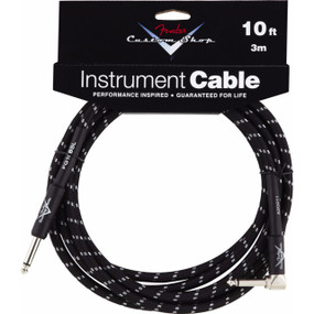 Fender FG10BSL Custom Shop Performance Series 10' Straight-Right Angle Instrument Cable, Black Tweed 099-0820-036