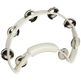 Rhythm Tech RT1220 Solo Tambourine with Nickel Jingles, White