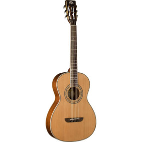 Washburn P11S Parlor Size Acoustic Guitar with Solid Cedar Top, Natural Satin (WP11SNS)