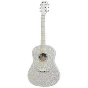 "Darling Divas DD02GLSL 36"" Steel String Acoustic Guitar, Glitter Silver Sparkle"