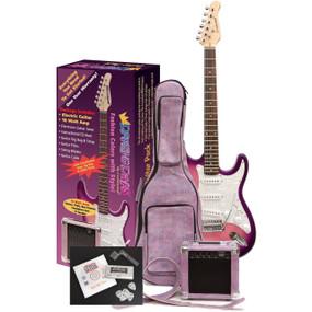 Darling Divas DD950PS Electric Guitar Pack, Pink Starburst