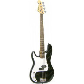 Crestwood PB970LHBK 4-String Left-Handed Electric Bass Guitar, Black