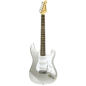 Crestwood ST920SV Strat Style Electric Guitar, Metallic Silver