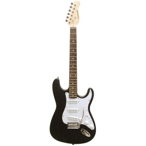 Crestwood ST920BKV Strat Style Electric Guitar, Black Voodoo