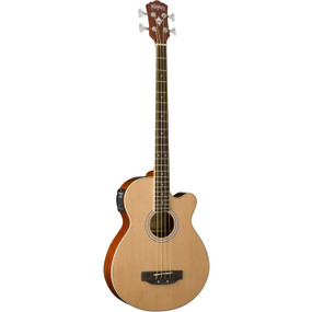 Washburn AB5K 4-String Acoustic Electric Bass Guitar with Gig Bag, Natural
