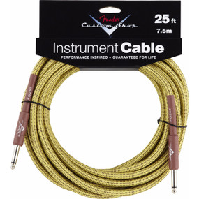 Fender FG25T Custom Shop 25' ft Tweed Instrument Cable, 099-0820-032