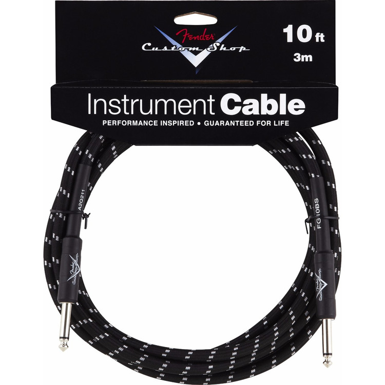 Fender FG10BS Custom Shop 10' ft Black Tweed Instrument Cable, 099-0820-035