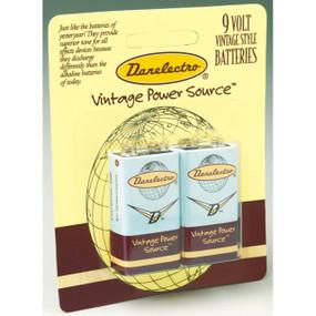 Danelectro 2D9V 9-Volt Vintage Style Batteries, 2 Pack