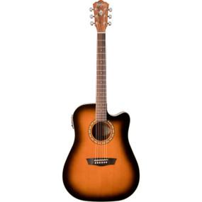 Washburn WD7SCEATB Dreadnought Cutaway Acoustic-Electric Guitar, Tobacco Burst